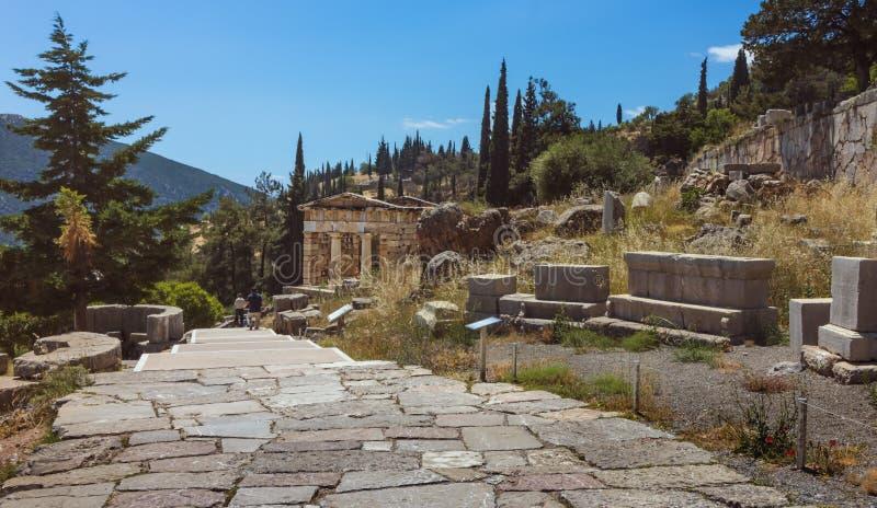 Athenian Treasury - Delphi - Greece stock photos