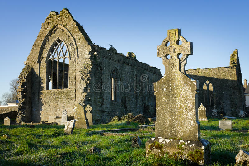 Athenry Dominican Friary with cemetery. Athenry Dominican Friary, dedicated to Saints Peter and Paul,found at 1241,remains details,and old cemitary with tombs stock images