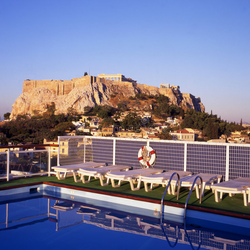 Athens and the Acropolis stock images