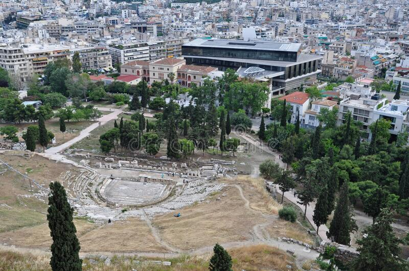Athens acropolis museum and ancient theatre ruins royalty free stock image