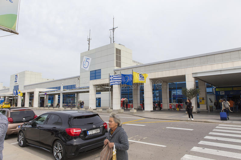 Athens airport main entrance stock images