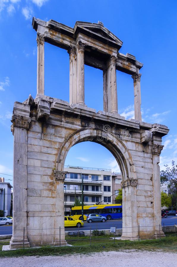 The Arch of Hadrian, most commonly known in Greek as Hadrian`s Gate in Athens Greece stock photography
