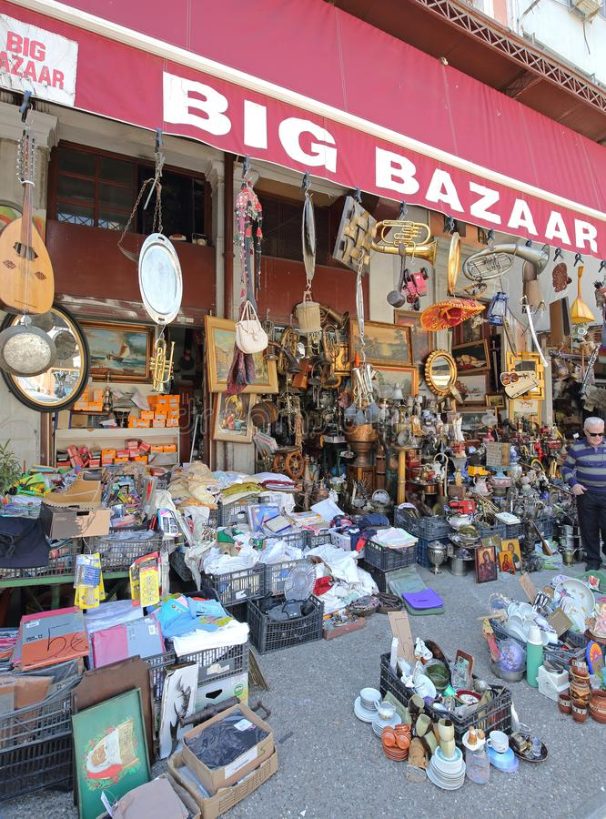 Athens Big Bazaar. ATHENS, GREECE - MAY 05, 2015: Big Bazaar Antiques Store Second Hand Knick Knack Shop at Central Market in Athens, Greece stock photos
