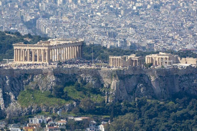 Athens in spring, view from hill,  cityscape with Acropolis, streets and buildings, ancient urbal culture. Athens, capital of Greece, in spring, view from hill stock photo