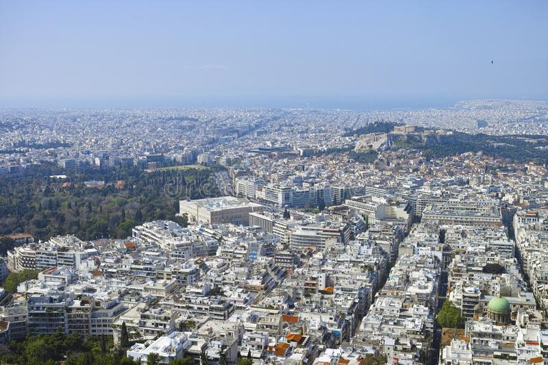 Athens in spring, view from hill,  cityscape with streets and buildings, ancient urbal culture. Athens, capital of Greece, in spring, view from hill,  cityscape stock photos