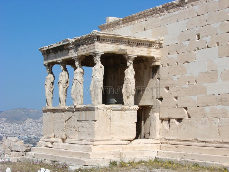Athens, the Caryatids. The Erechtheion with the Caryatids on the Acropolis in Athens, Greece royalty free stock image