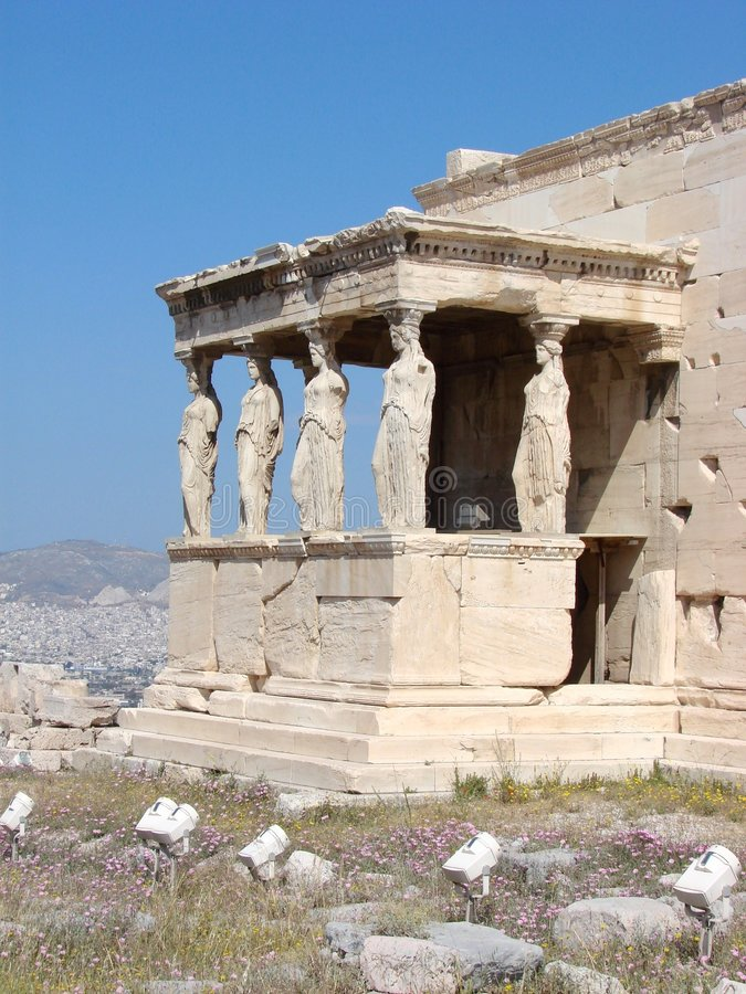 Athens, the Caryatids. The Erechtheion with the Caryatids on the Acropolis in Athens, Greece royalty free stock images
