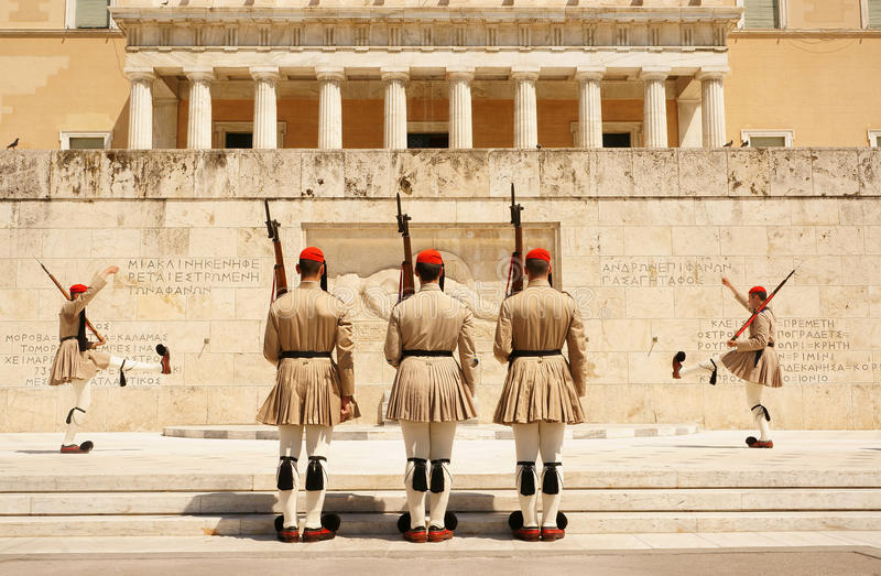 Athens, the changing of the guard stock photography