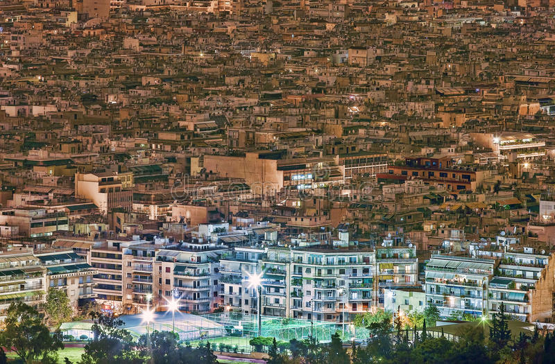 Athens Cityscape from Mount Lycabettus (Lykavittos Hill ). A Greek cityscape from Athens highest point, Mount Lycabettus (Lykavittos Hill royalty free stock images