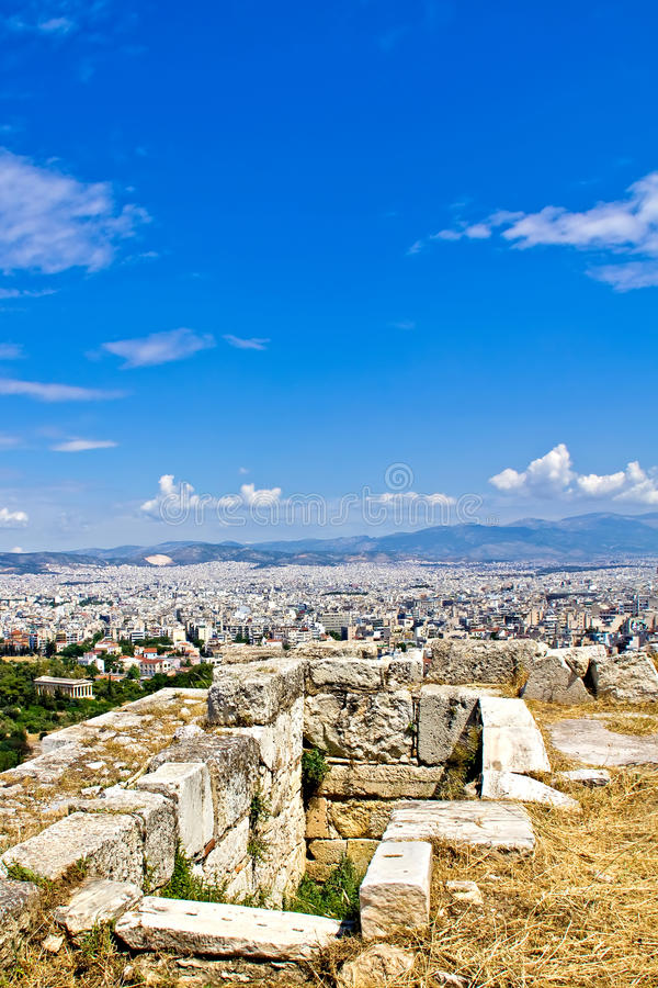 Athens cityscape and ruins at Acropolis hill stock photo