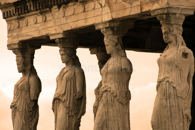 Athens, Greece. Caryatids, sculpted female figures, used as columns to hold portion of the roof of the erechtheum. Located on the north side of the Acropolis royalty free stock images