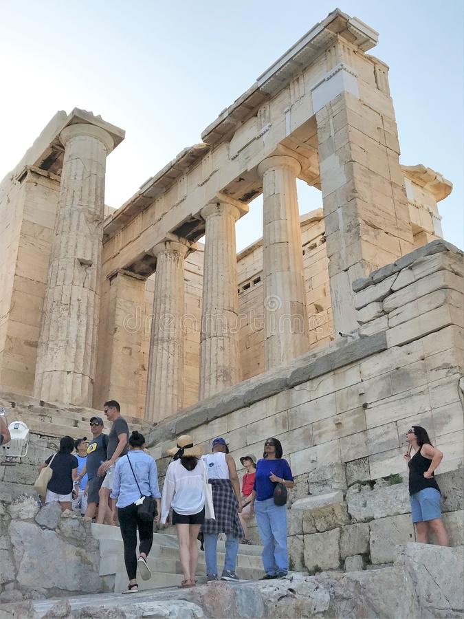 Athens, Greece - 8/3/2019 - Acropolis Hill, famous ancient landmark that includes the Parthenon in Athens Greece stock images