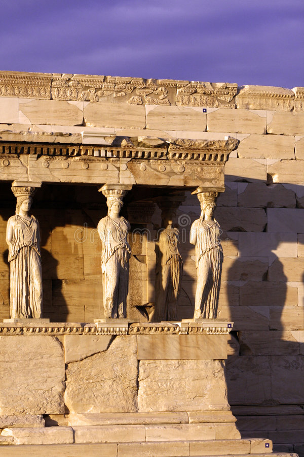 Athens, Greece - Caryatids. Sculpted female figures, used as columns to hold portion of the roof of the erechtheum. Located on the north side of the Acropolis royalty free stock image