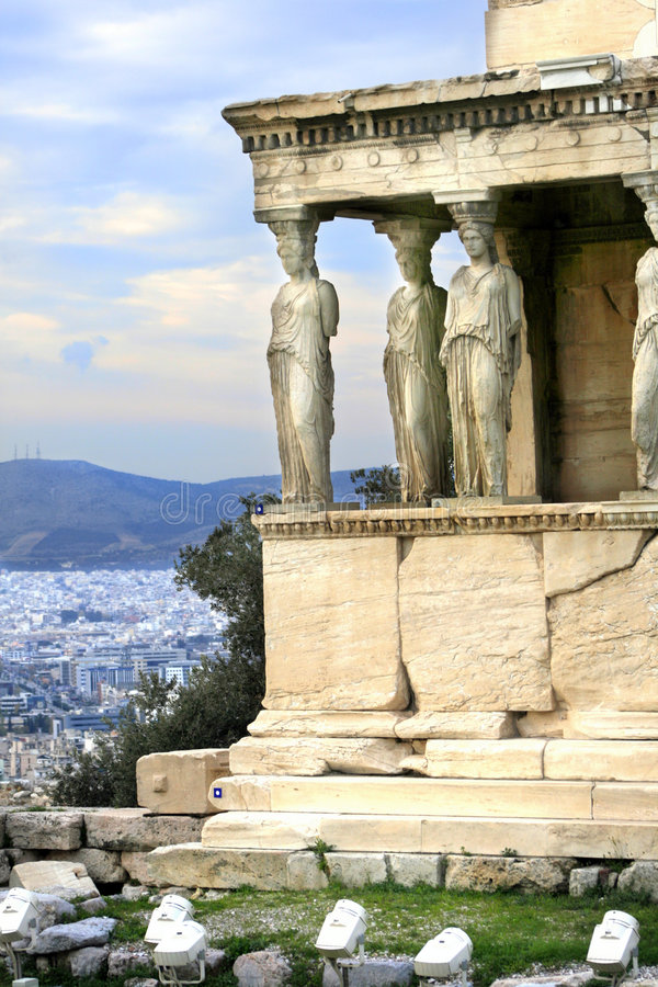 Athens, Greece - Caryatids of the erechteum. Athens, Greece - Caryatids, sculpted female figures, used as columns to hold portion of the roof of the erechtheum stock image