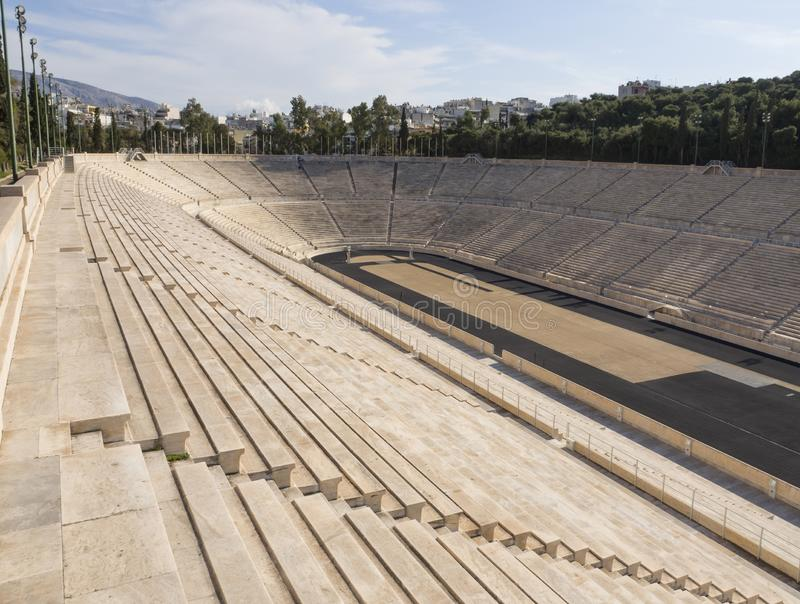 View of the ancient stadium of the first Olympic Games in white marble - Panathenaic Stadium. View of the ancient stadium of the first Olympic Games in white royalty free stock photos