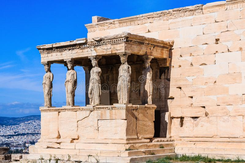 Athens, Greece. Detail of the south porch of Erechtheion with the Caryatids in a sunny day. Athens, Greece. Detail of the south porch of Erechtheion with the royalty free stock image