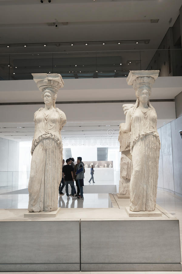 ATHENS, GREECE - FEBRUARY 25, 2016: Interior view of the new Acropolis museum in Athens. Caryatids sculptures royalty free stock images