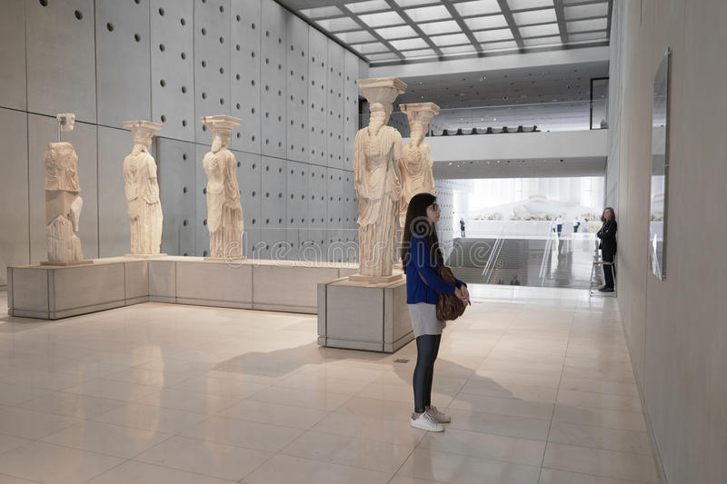 ATHENS, GREECE - FEBRUARY 25, 2016: Interior view of the new Acropolis museum in Athens. Caryatids sculptures stock photography