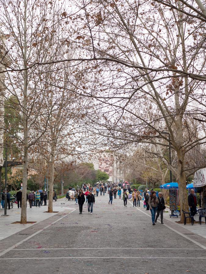Aeropagitou street under Acropolis hill in Athens stock image