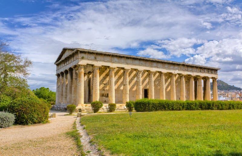 athens greece hephaestustempel royaltyfri fotografi