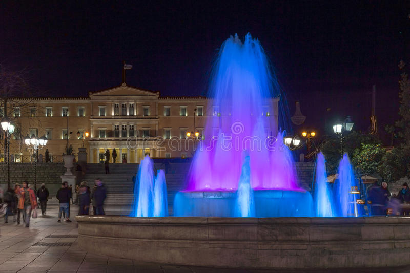 ATHENS, GREECE - JANUARY 19 2017: Night photo of Syntagma Square in Athens, Greece royalty free stock photos