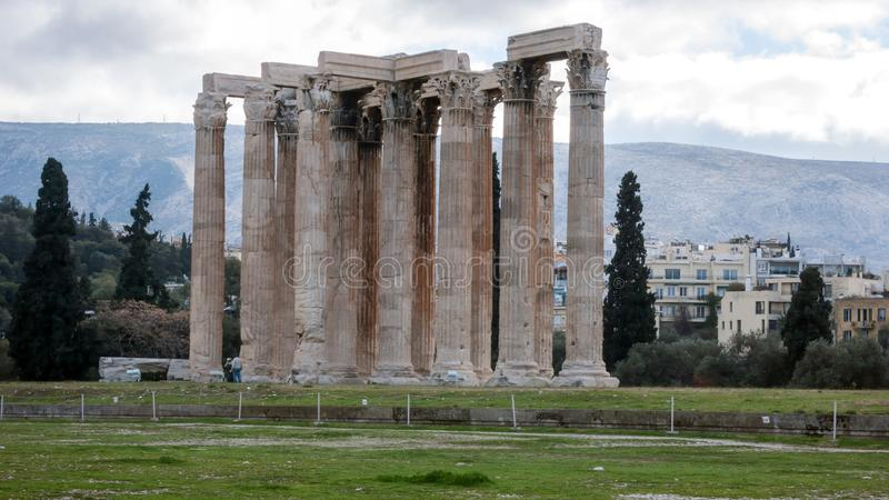 ATHENS, GREECE - JANUARY 20, 2017: Temple of Olympian Zeus in Athens royalty free stock photo