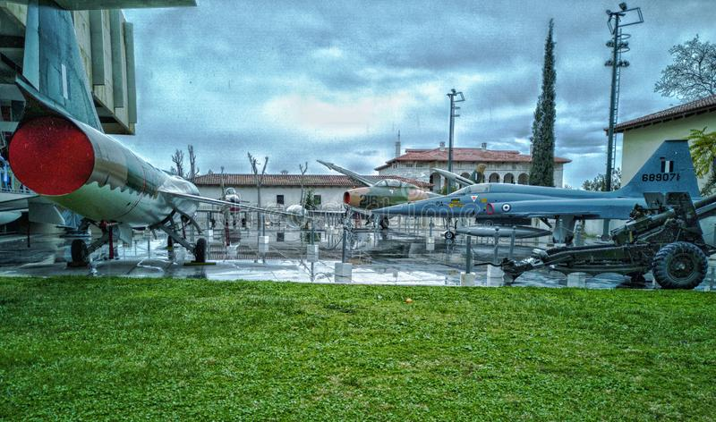 War museum in athens,some of the jets and armory used by greeks in war outside of the museum. Athens/greece january 20 2019 : war museum in athens,some of the stock image