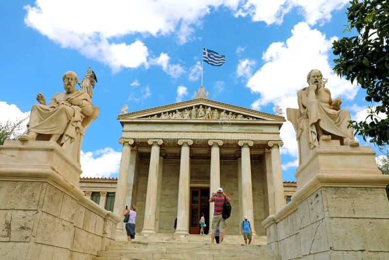 ATHENS, GREECE- JULY 18, 2018: Facade of Athens Academy, Greece stock photo