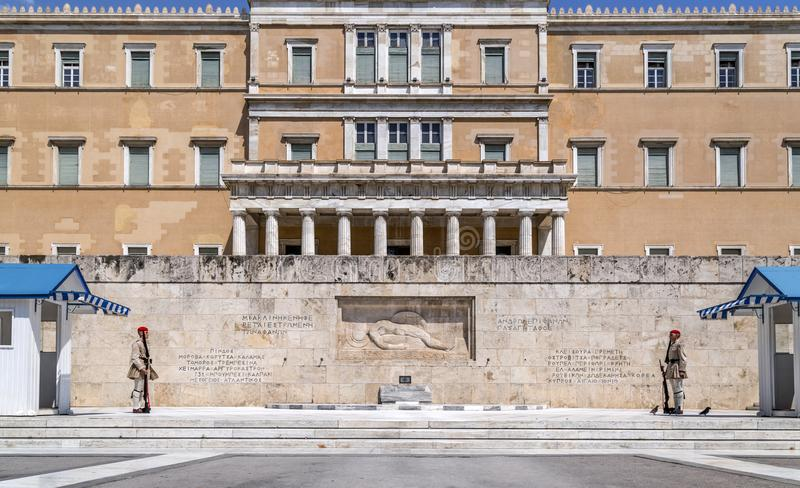 Evzones in Athens, Greece stock photography