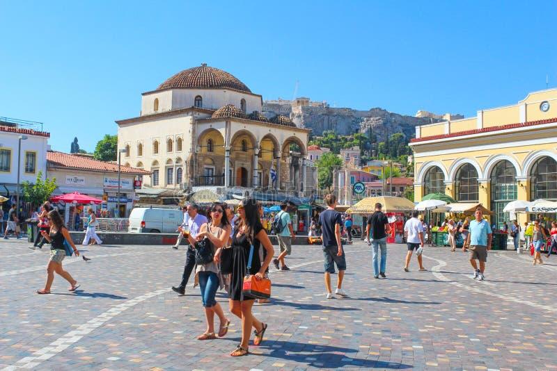 Monastiraki square with tourist people in Athens, Greece stock photography