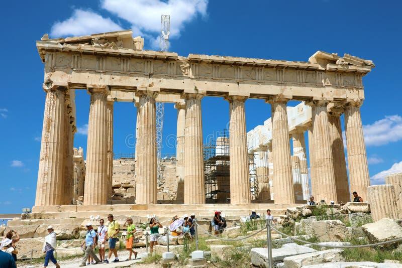 ATHENS, GREECE - JULY 18, 2018: tourists at Parthenon on the Acropolis of Athens, Greece. The famous ancient Greek Parthenon royalty free stock photo