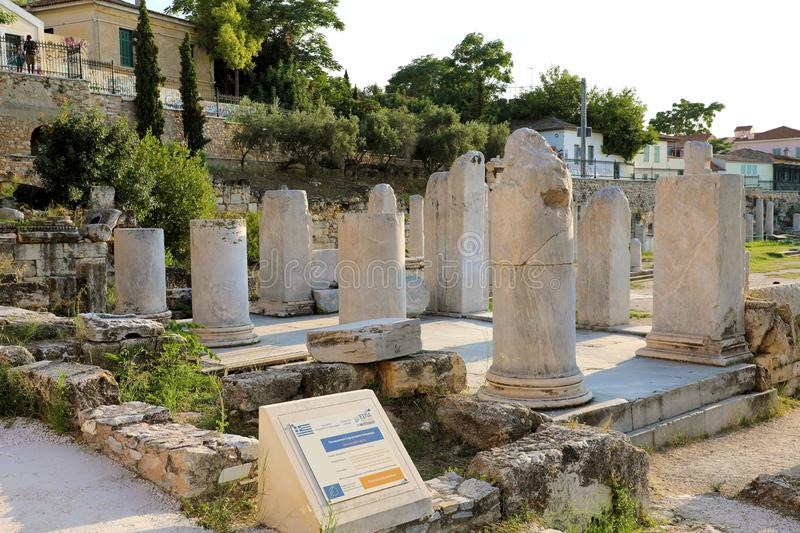 ATHENS, GREECE - JULY 18, 2018: Remains of the Roman Agora, Athens, Greece royalty free stock images