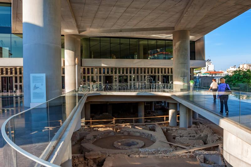 ATHENS, GREECE - JUNE, 2011: Acropolis Museum. ATHENS, GREECE - JUNE, 2011: Entrance of the New Acropolis Museum in Athens. Designed by the Swiss-French stock photography