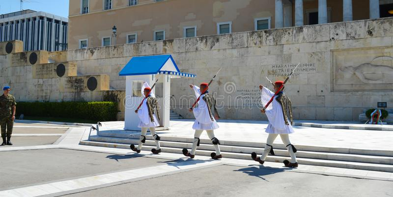 Changing of Ceremonial Elite infantry Evzones near parliament in Athens, Greece on June 23, 2017. ATHENS, GREECE - JUNE 23: Changing of Ceremonial Elite stock image