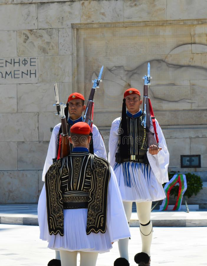 Changing of Ceremonial Elite infantry Evzones near parliament in Athens, Greece on June 23, 2017. ATHENS, GREECE - JUNE 23: Changing of Ceremonial Elite stock photo