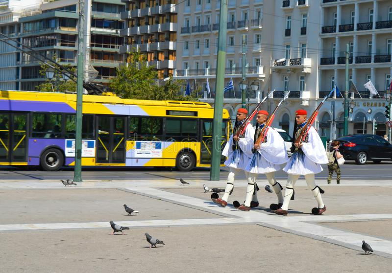 Changing of Ceremonial Elite infantry Evzones near parliament in Athens, Greece on June 23, 2017. ATHENS, GREECE - JUNE 23: Changing of Ceremonial Elite royalty free stock photos
