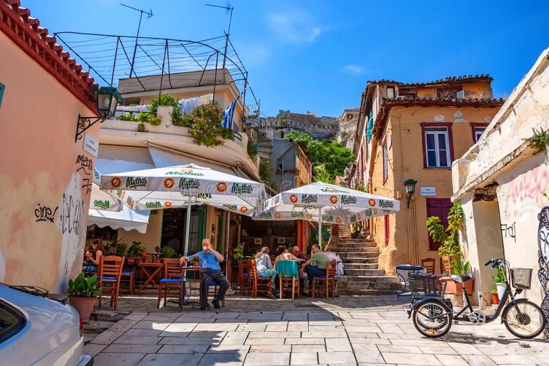 ATHENS, GREECE - JUNE, 2011: City streets. ATHENS, GREECE - JUNE, 2011: Beautiful view of streets on sunny day, popular tourist destination stock photos