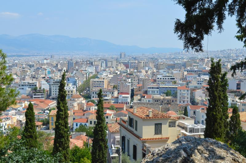 Beautiful city view from in Athens royalty free stock photo