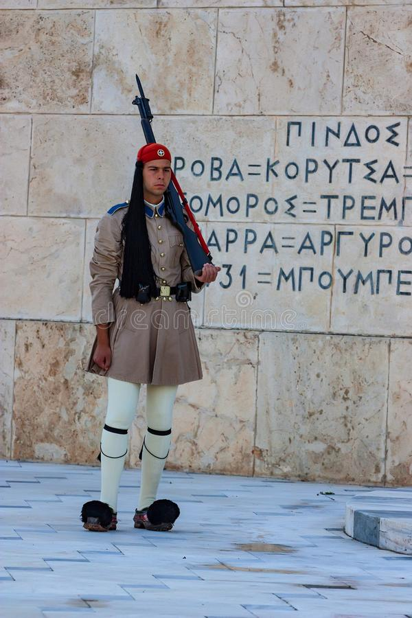 ATHENS, GREECE - JUNE, 2011: Evzone guard. On Synrtagma Square, the central square in the city. Popular tourist attraction royalty free stock photo
