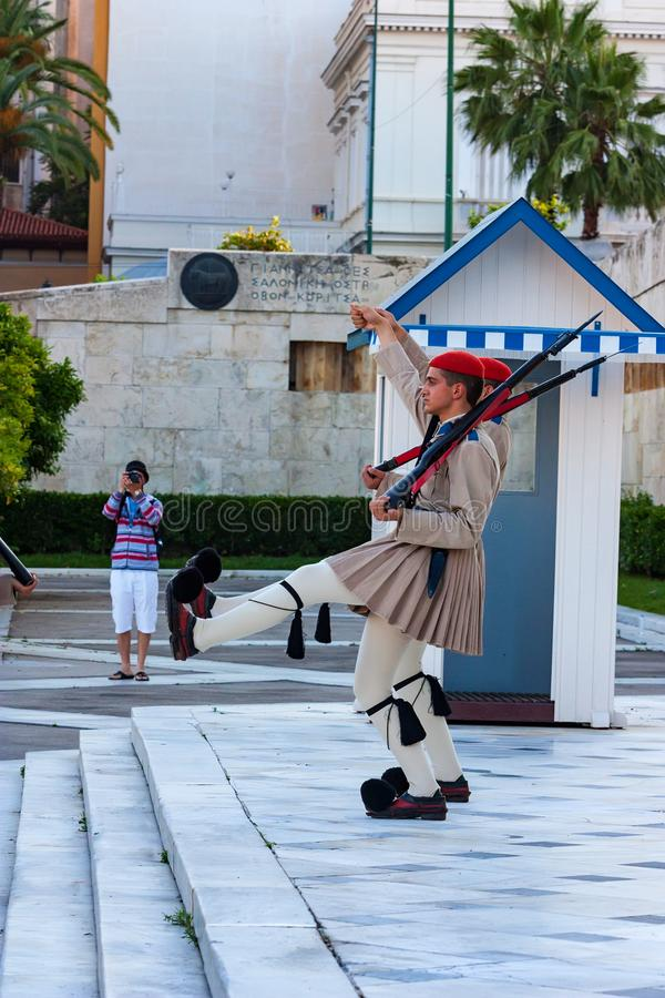ATHENS, GREECE - JUNE, 2011: Evzone guard. On Synrtagma Square, the central square in the city. Popular tourist attraction royalty free stock images
