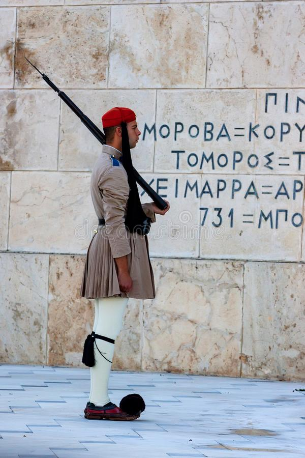 ATHENS, GREECE - JUNE, 2011: Evzone guard. On Synrtagma Square, the central square in the city. Popular tourist attraction stock image