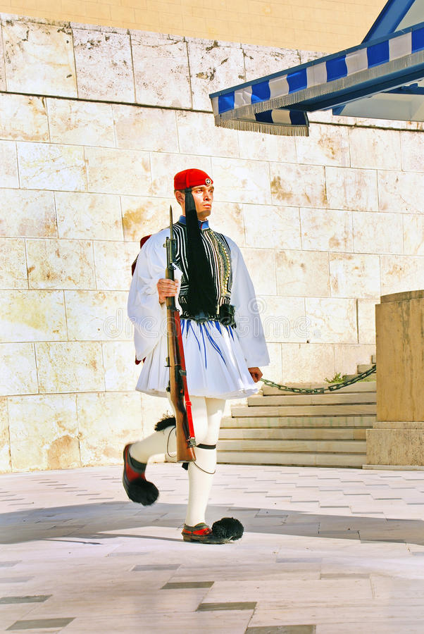 ATHENS, GREECE - June 17: The Evzones - elite unit of the Greek stock photography