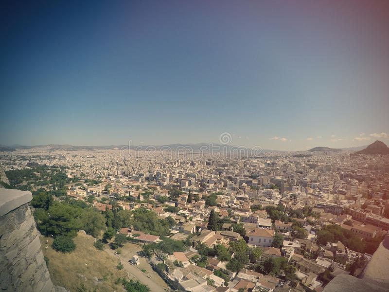 Athens, Greece. 06 June 2016: Fisheye view on the city royalty free stock images