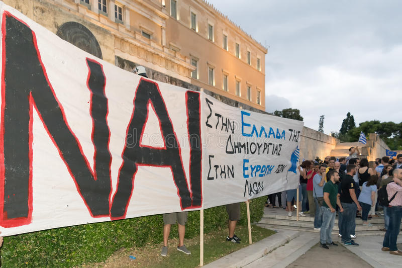 Athens, Greece, 30 June 2015. Greek people demonstrated against the government about the upcoming referendum. People in the demonstration are in favor of stock photos