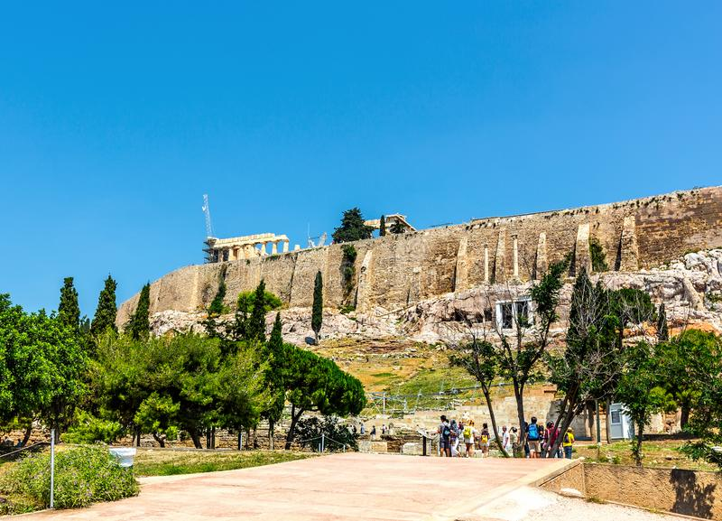 He Odeon of Herodes Atticus is a stone theatre structure located on the southwest slope of the Acropolis of Athens, Greece. ATHENS, GREECE-6 JUNE 2017: The Odeon royalty free stock image