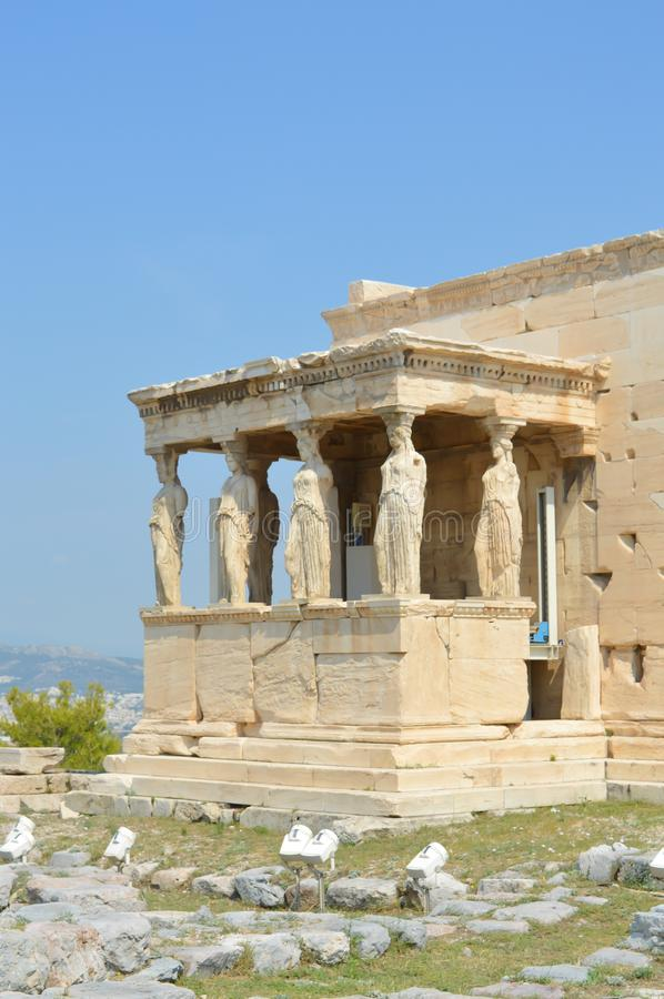Old Temple of Athena, Acropolis in Athens, Greece on June 16, 2017. ATHENS, GREECE - JUNE 16: Old Temple of Athena, Acropolis in Athens, Greece on June 16, 2017 stock photos
