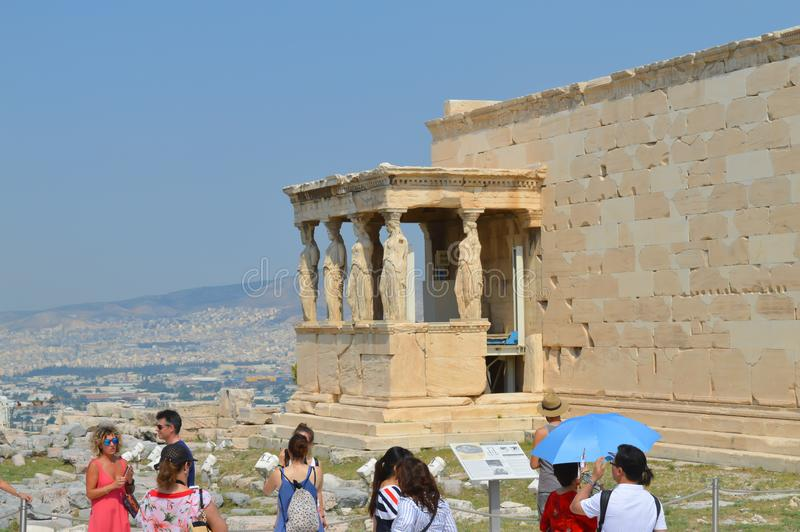 Old Temple of Athena, Acropolis in Athens, Greece on June 16, 2017. stock photography