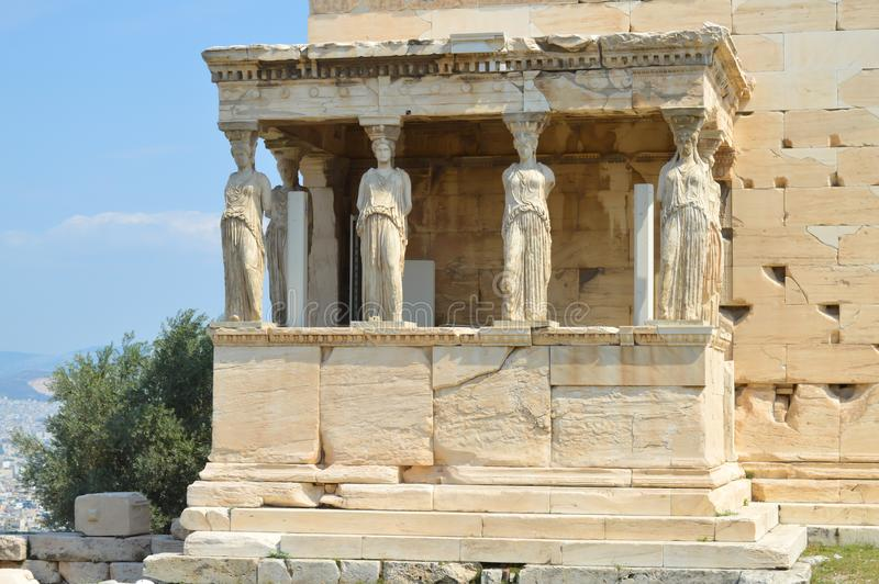 Old Temple of Athena, Acropolis in Athens, Greece on June 16, 2017. ATHENS, GREECE - JUNE 16: Old Temple of Athena, Acropolis in Athens, Greece on June 16, 2017 royalty free stock photography