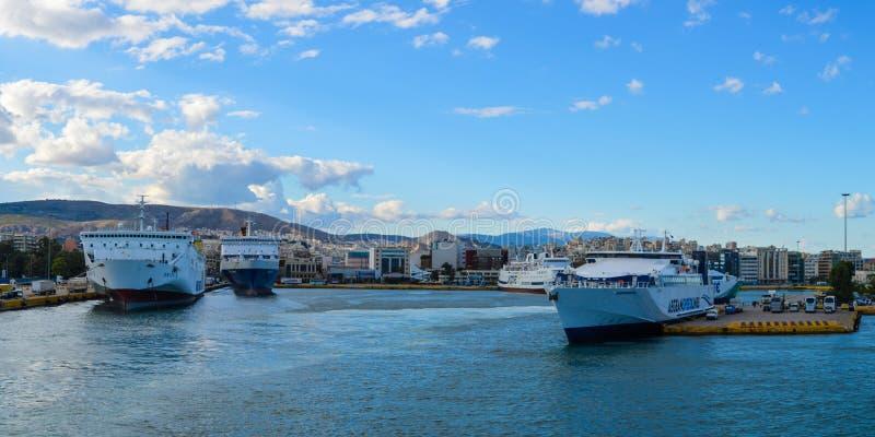 Panoramic view of Piraeus port in Saronic Gulf, Athens, Greece on June 19, 2017 stock image