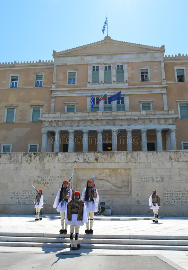 Parliament in Athens, Greece on June 23, 2017. ATHENS, GREECE - JUNE 23: Parliament in Athens, Greece on June 23, 2017 royalty free stock photos